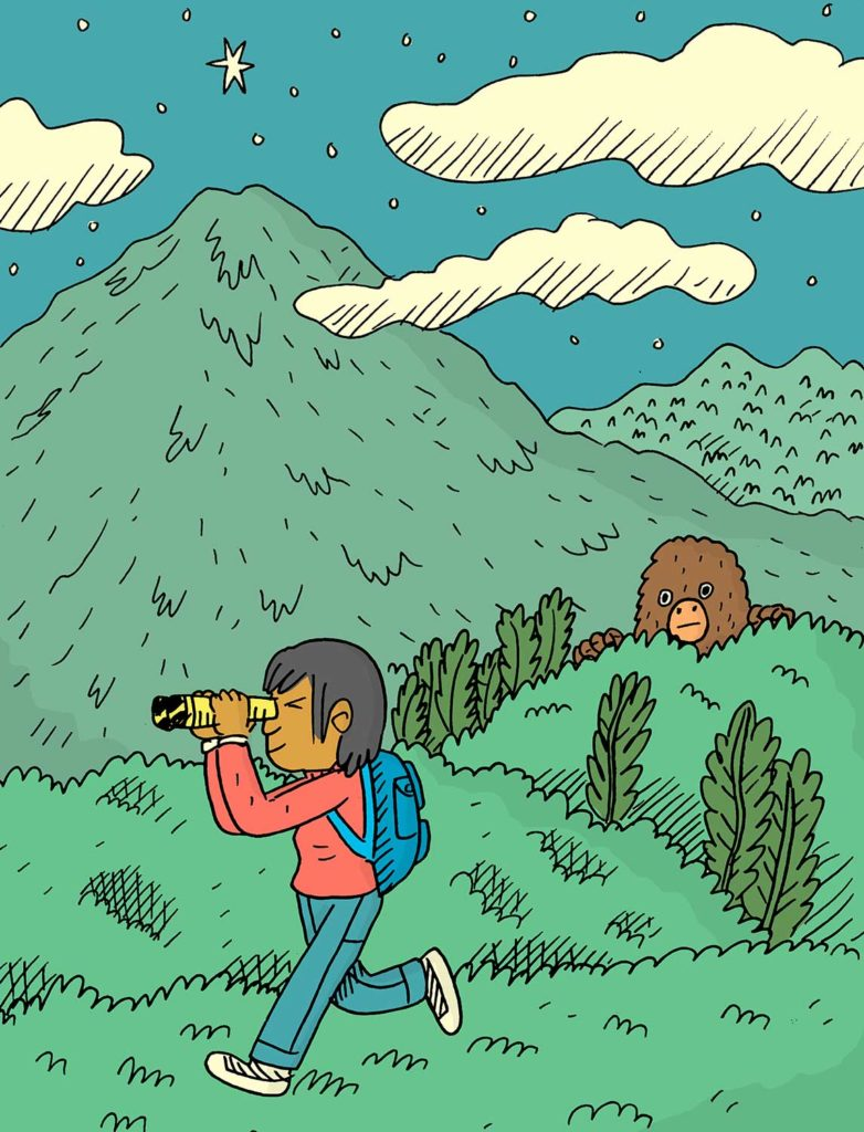 An illustration of a young boy peering through binoculars in a forest with a bear in the background