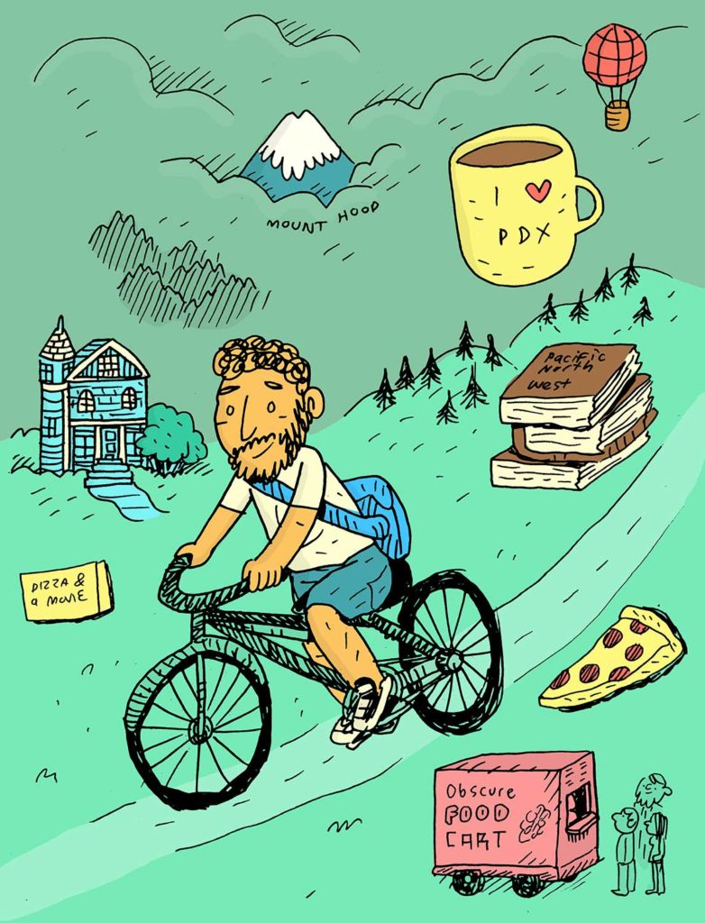 An illustration of a man on a bike riding through a field with various symbols of Portland surrounding him