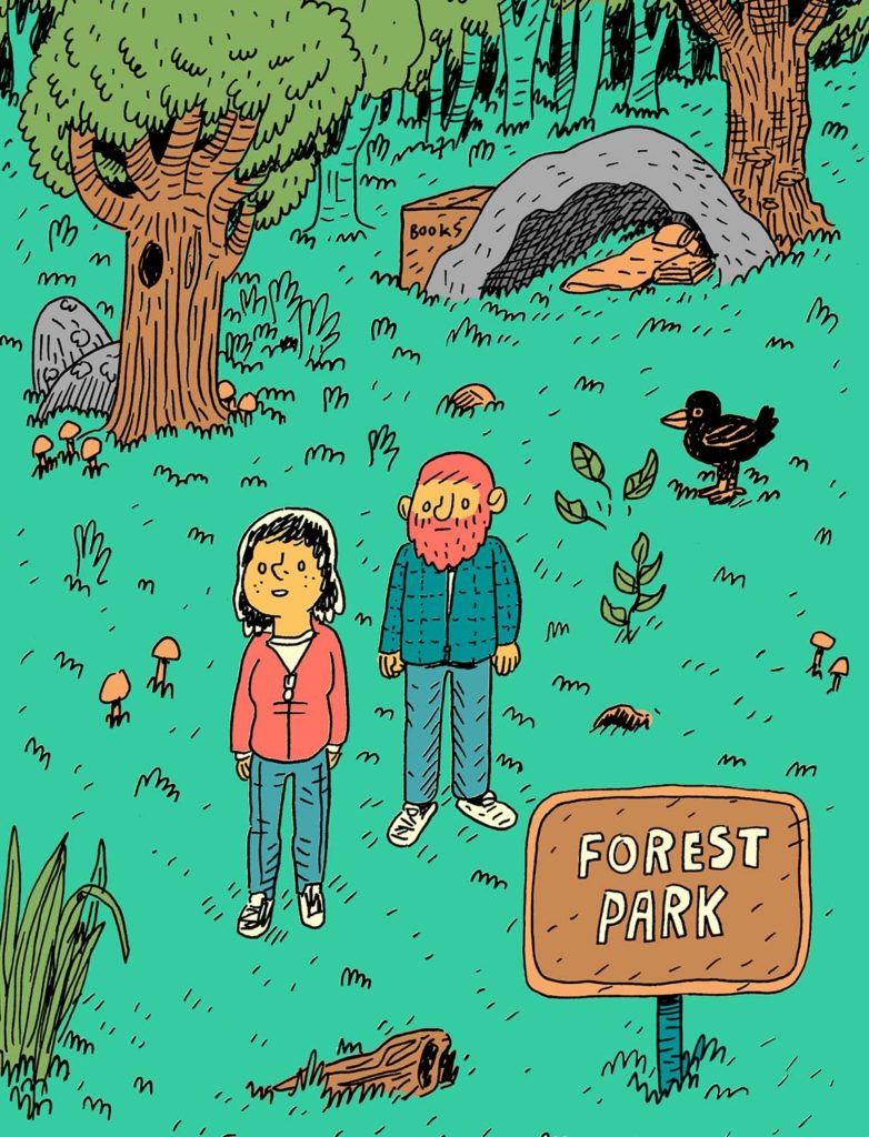 An illustration of two people standing in a forest